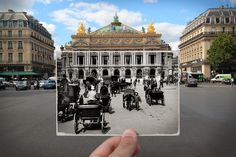 I Combined Old And New Photos Of Paris To Bring History To Life | Bored Panda Place de l'Opéra, 1900