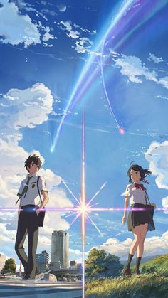 Find the best Kimi No Na Wa wallpaper on WallpaperTag. We have a massive amount of desktop and mobile backgrounds. Film Your Name, Your Name Anime, Your Name Wallpaper, Couple Wallpaper, Kimi No Na Wa Wallpaper, Tumblr Drawings, Anime Scenery Wallpaper, Mode Shop, Anime Love Couple