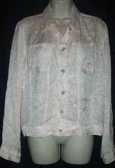 $15.99   Coldwater Creek Light Pink Textured 100% Rayon Long Sleeve Shirt Top M