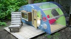 The Relax Shack Micro Shelter made from Recycled Pallets and clear plastic, everyone will love this!