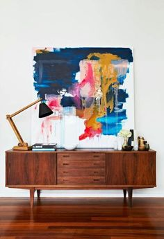 Sideboard and Table Lamp - Inspiring mid-century modern living room - see more at http://www.delightfull.eu/en/inspirations/interiors-decor/inspiring-mid-century-modern-living-room/