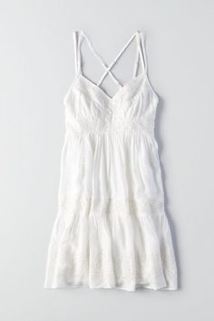 We're loving intricate details like these: eyelet details and a feminine, babydoll silhouette. Cute Dresses, Casual Dresses, Casual Outfits, Cute Outfits, Fashion Outfits, Summer Dresses, Pink Outfits, American Eagle Outfits, American Eagle Dress