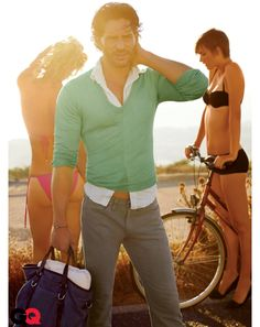 Joe Manganiello in Perry Ellis shirt, Nautica Jeans co. #summerwear #menswear