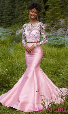 Mori Lee Long Sleeve Two Piece Prom Dress