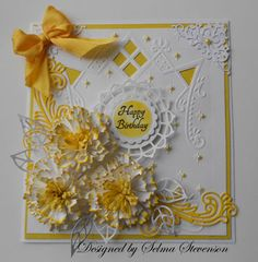 Yellow and White Birthday Card by Selma - Cards and Paper Crafts at Splitcoaststampers