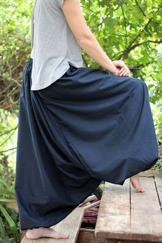 Blue cotton harem pants yoga pants Men's Women's by ShantimamaShop