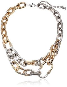 """Kenneth Cole New York """"Linked-in"""" Gold and Silver Pave Link 2-Row Necklace, 16"""" Kenneth Cole New York http://www.amazon.com/dp/B00KKIUQ92/ref=cm_sw_r_pi_dp_MnAovb0E25RCR"""