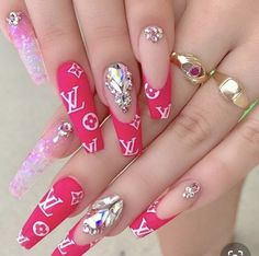Hot Nail Designs, Cute Summer Nail Designs, Cute Summer Nails, Acrylic Nail Designs, Acrylic Nails, Glam Nails, Hot Nails, Bling Nails, Bling Bling