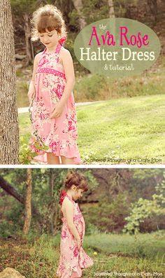 Free Halter Dress Tutorial w/ bodice pattern in size 3/4 5/6 and 7/8.  Good tips on sewing the gather