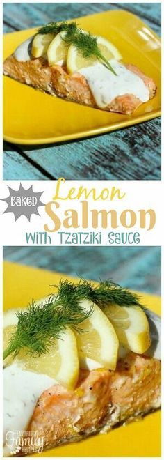 This zesty Baked Lemon Salmon is such a light, fresh summertime meal. The creamy Tzatziki sauce with Greek Yogurt puts it over the top! via @favfamilyrecipz Salmon Recipes, Fish Recipes, Seafood Recipes, Recipies, Beef Recipes For Dinner, Cooking Recipes, Healthy Recipes, Skinny Recipes, Family Recipes