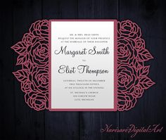 Roses Laser cut Wedding invitation, 5x7 Gate fold Card Template, Quinceanera Invitation, SVG cutting file, Silhouette Cameo, Cricut