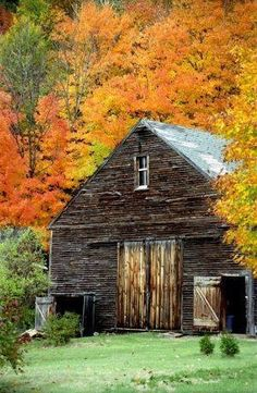 Old weathered barn in the fall