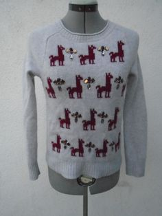 J. CREW Gray Llama Alpaca Jewels Wool Sweater Size S #JCrew #Cardigan
