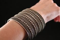 WIDE Tribal Bali Cuff Bracelet - Silver Tone (Vintage, Ethnic, Tribal, Unique) Free Shipping, Free Gift Box by JaguarIsle, $45.00