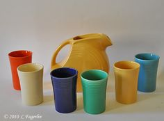 Vintage Fiesta water pitcher and tumblers....my favorite!