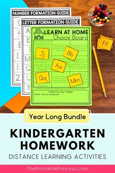 Homework is a great way to provide students extra practice and keep parents informed of what their child is learning. With this resource, your Kindergarten homework curriculum is planned for the ENTIRE year – and your students will have a BLAST completing the activities! Use it during the school year as fun, interactive homework activities or during distance learning.