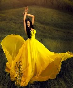 Gorgeous yellow dress.  Possible wedding dress.