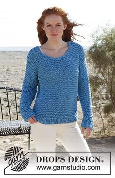 Knitted DROPS jumper in garter st in Ice or in Eskimo.