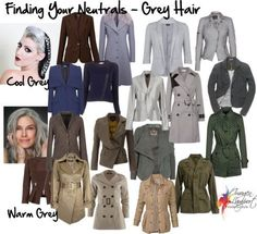grey hair Whats your best neutral if you have gray hair These are some good options based on your skin tone temperature. But it does happen that someone with a warm skin tone turns steely gray too, and then the fun begins! Silver Grey Hair, Gray Hair, Grey Hair Cool Skin Tone, Cool Winter, Clear Winter, Inside Out Style, Salt And Pepper Hair, Seasonal Color Analysis, Color Me Beautiful