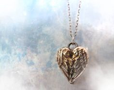 Arms of the Angel. Handmade Fine Silver Wing Pendant. Sterling Silver Chain. PMC Jewelry. $75.00, via Etsy.