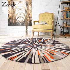 Zeegle European Style Home Decoration Round Carpet For Living Room Chair Circular Mat Welcome Floor Anti-Slip Mats