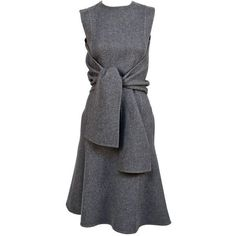 Preowned Celine Grey Cashmere Runway Dress With Knotted 'sleeves' -... ($1,650) ❤ liked on Polyvore featuring dresses, short dresses, grey, gray mini dress, sleeve dress, cashmere dress and long-sleeve mini dress