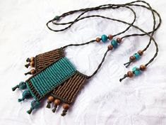 Macrame cotton necklace with acai and wood beads