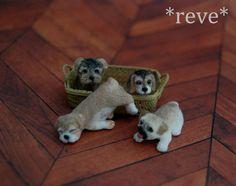 OOAK Realistic Miniature ~ Set of Puppies ~ Handmade Dollhouse 1:12 Sculptures ~ * ~ Pug * Beagle * Yorkie & Bulldog puppies