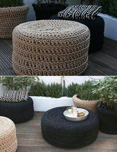 20 Amazing Diy ideas and crafts with pouf Diy Divan, Diy Décoration, Easy Diy, Tire Furniture, Tyres Recycle, Crochet Home, Diy Hacks, Elle Decor, Diy Home Decor