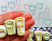 GLASSES hand carved rubber stamp handmade rubber by talktothesun