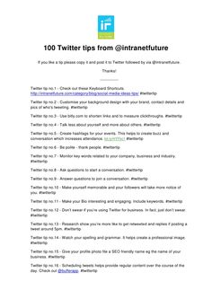 100 twitter tips
