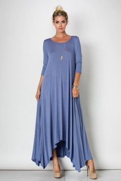 3/4 Sleeve Drapey Maxi Dress 95%RAYON 5%SPANDEX Made in the USA Dress Runs True to Size