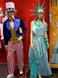 All American style costumes of Uncle Sam and Statue of Liberty. 4th of July here…