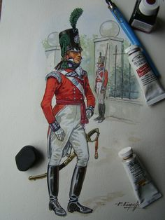 British; 56th (West Essex) Regiment of Foot, Light Company, Officer, c.1805 by P.Courcelle