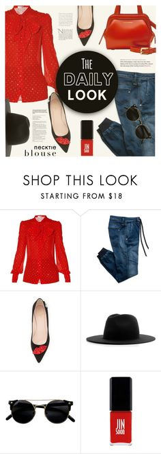 """Fall Trend: Necktie Blouse"" by monazor ❤ liked on Polyvore featuring Yves Saint Laurent, Replay, Kate Spade, Études, Jin Soon, jeans, womenfashion, falloutfit, falltrend and Fall2016"