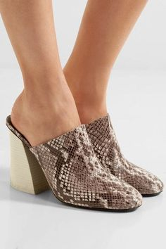 Mercedes Castillo - Abia Snake-effect Leather Mules - Snake print - US