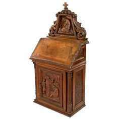 Carved French Walnut Altar for Private Worship | From a unique collection of antique and modern religious items at https://www.1stdibs.com/furniture/more-furniture-collectibles/religious-items/