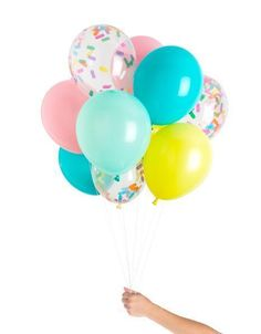 These Ice Cream Party balloons add a pop of color to your party. Fun solids and filled confetti balloons for your next unicorn party.
