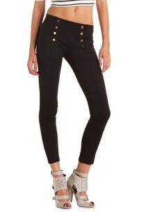 high waisted sailor skinny pant Online exclusive! This nautical high waisted skinny pant comes in ponte knit fabric with metallic buttons at the waist.