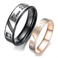 """Стильные кольца для влюбленных с надписью """"True Love"""" - изготовлены из ювелирной стали. Украшены фианитами. Прекрасный подарок для вашей любимой половинке.Stylish ring for Valentine with the inscription """"True Love"""" - made of steel jewelry. Decorated with cubic Zirconia. A perfect gift for your loved one."""
