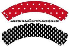 Vermelho e Preto Poá – Kit Completo com molduras para convites, rótulos para guloseimas, lembrancinhas e imagens! |Fazendo a Nossa Festa