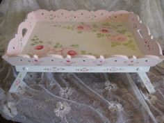 TRAY FOLDING KITCHEN BATH BED WOOD HP PINK ROSE HAND PAINTED SHABBY COTTAGE CHIC