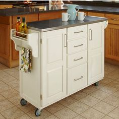 Kitchen Carts - Mix and Match White Kitchen Cart Cabinet w/ Stainless Steel Top  | kitchensource.com