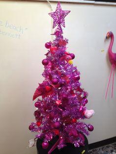 Funky flamingo - tucked into the tree
