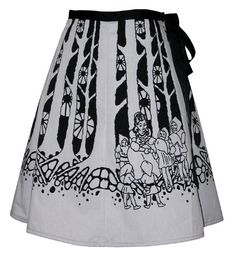 fairytale forest skirt - snow white - deep dark woods hand screen print with storybook figures. $62.00, via Etsy.