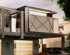Duplex House on Behance Modern Exterior House Designs, Modern House Facades, Bungalow Exterior, House Architecture Styles, Facade Architecture, Bungalow House Design, House Front Design, Facade Design, Facade House