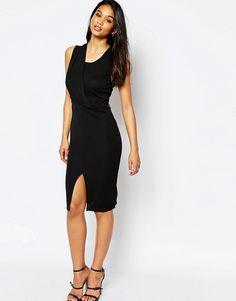 Креповое платье-футляр с драпировкой ASOS - Черный