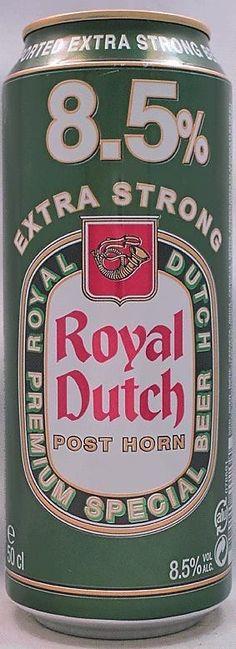 Cerveja Royal Dutch Posthorn Extra Strong, estilo Bohemian Pilsener, produzida por United Dutch Breweries, Holanda. 8.5% ABV de álcool.