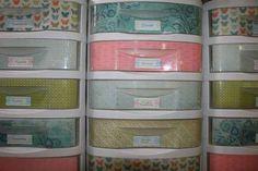 Line your standard plastic storage drawers with decorative paper. | 17 Super Simple Dorm Organization Tricks