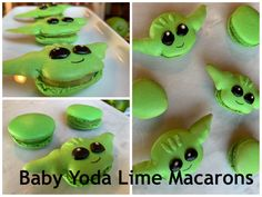 Baby Yoda Lime Macarons with Lime Curd Filling Davids Cookies, Lime, Food And Drink, Sweets, French, Cakes, Baking, Party, Desserts